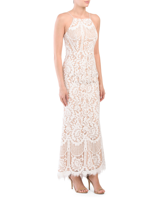 Petite Ariel All Over Lace Gown