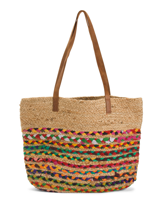 Woven Straw Bag With Leather Straps