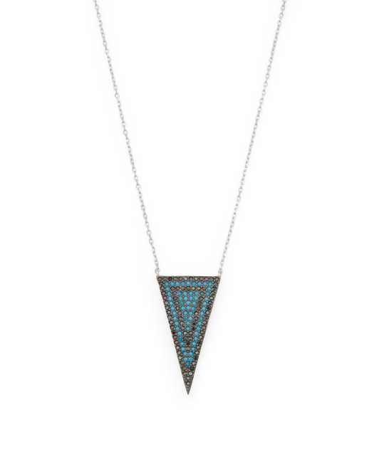 Sterling Silver Turquoise And Black Cz Chevron Necklace