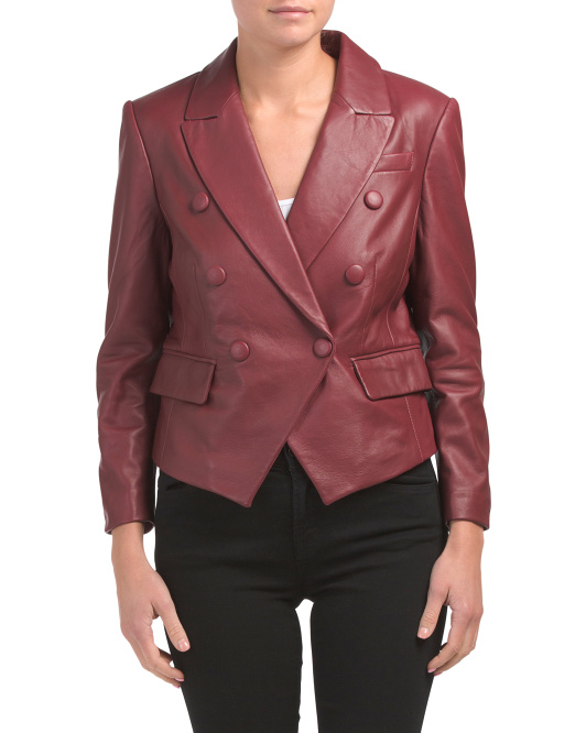 Double Breasted Leather Blazer