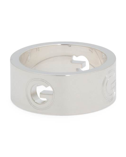 Made In Italy Sterling Silver G Round 8mm Band Ring