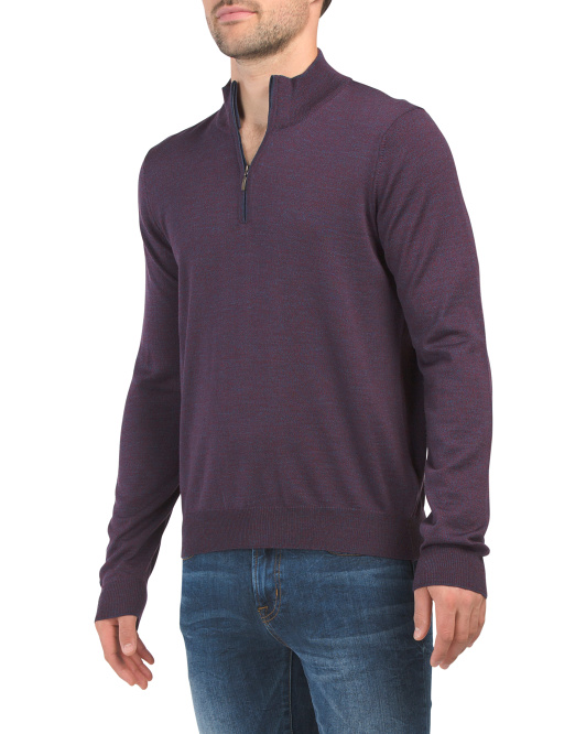 Made In Italy Merino Wool Quarter Zip Sweater