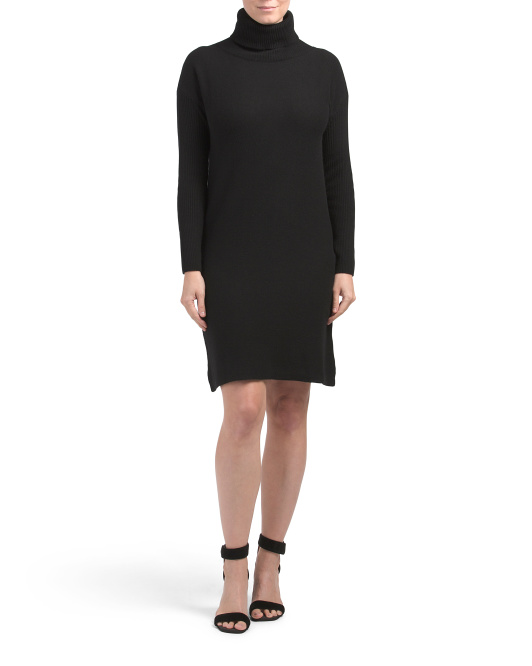 Made In Italy Rib Sleeve Turtleneck Cashmere Blend Dress