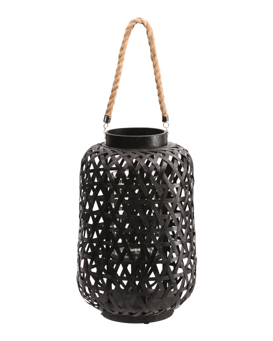 Bamboo Round Lantern With Rope Handle