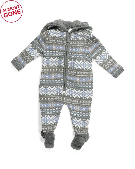 Newborn Boys Jacquard Coveralls With Faux Fur Trim
