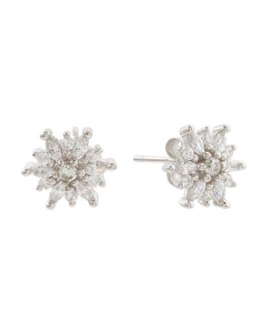 Sterling Silver Cz Cluster Stud Earrings