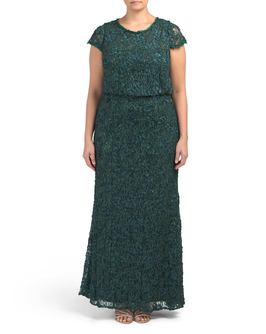 Plus Sequin Lace Blouson Gown