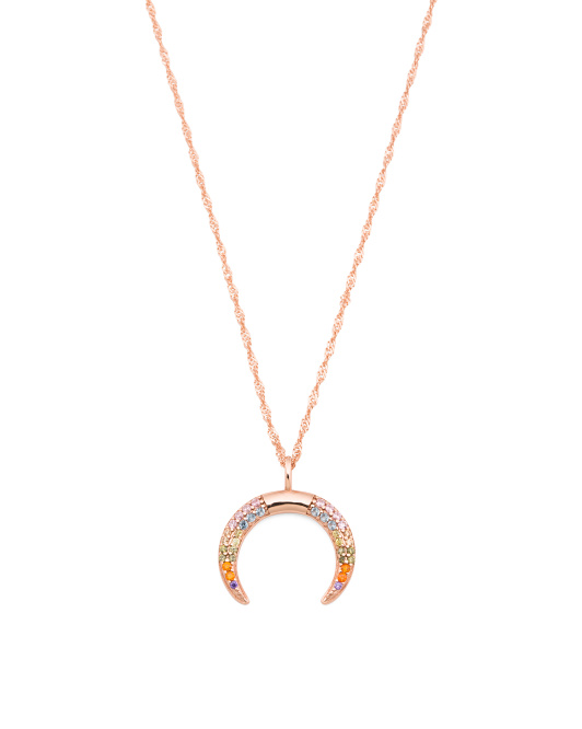Sterling Silver Cz Horn Necklace