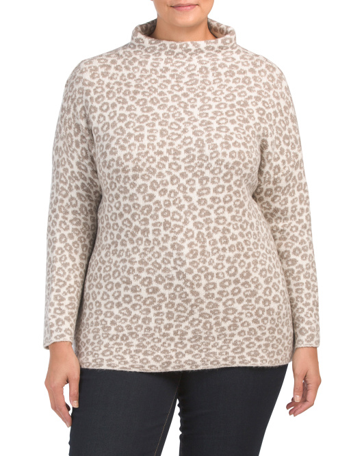 Plus Leopard Funnel Neck Pullover