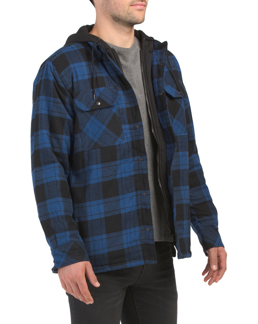 Flannel Shirt Jacket With Faux Quilted Bib