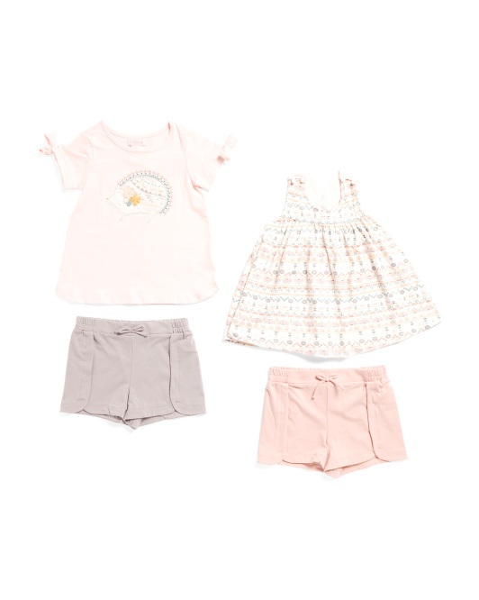 Toddler Girls 4pc Mix & Match Hedgehog Top And Shorts Set