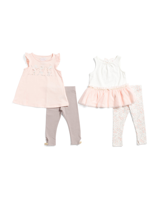 Infant Girls 4pc Mix & Match Top And Leggings Set