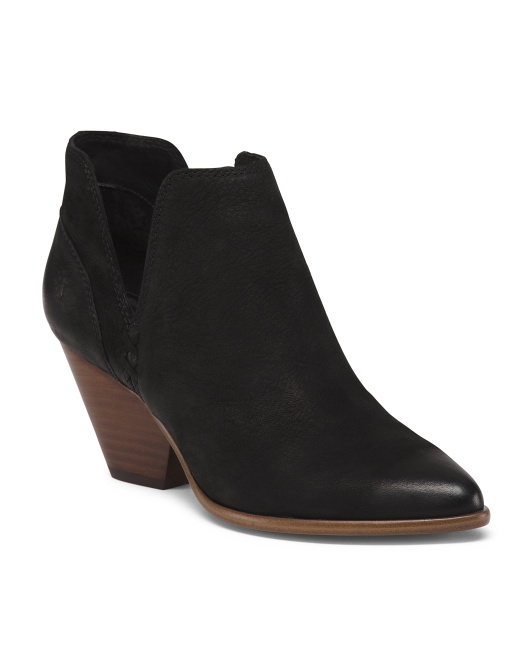 Leather Block Heel Western Booties
