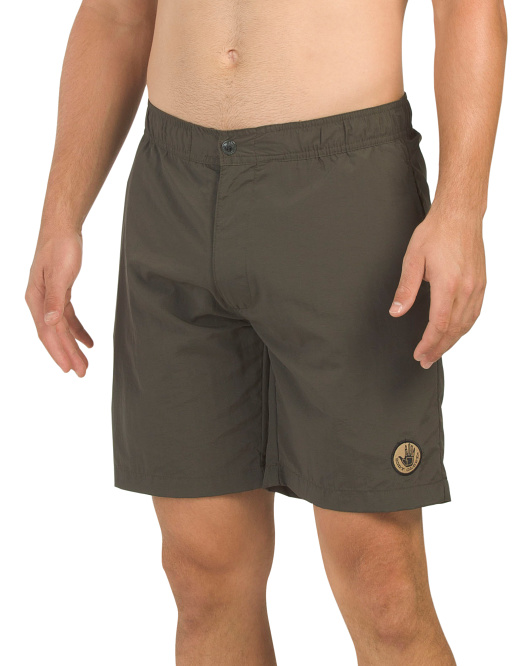 Full Elastic Button Front Swim Shorts