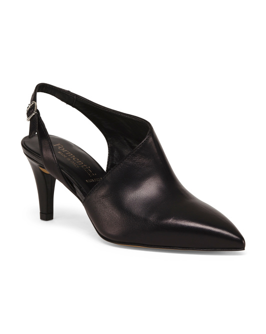 Made In Italy Leather Slingback Pointy Toe Pumps
