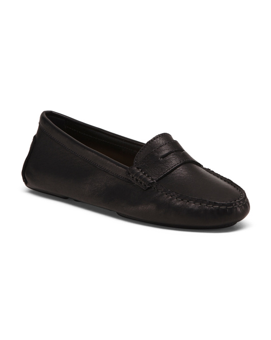 Made In Italy Leather Driver Loafers