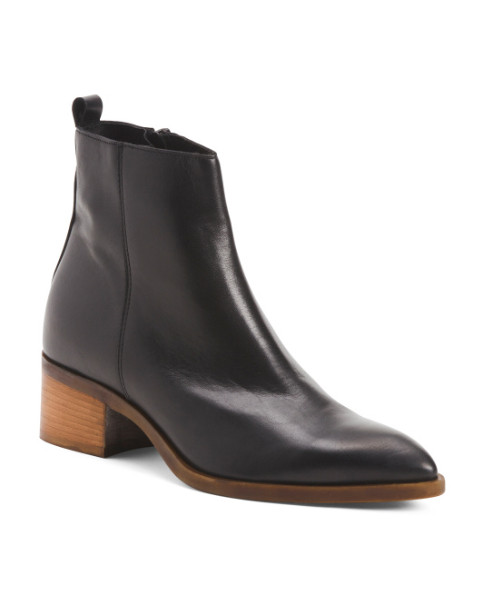 Made In Italy Stacked Heel Pointy Leather Booties