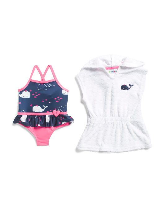 Newborn Girls 2pc Whale Swimsuit And Cover-up
