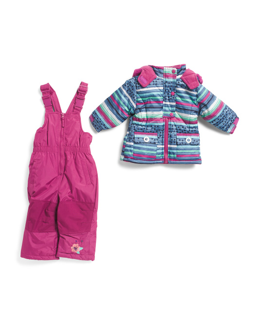 Infant Girls Striped Snowsuit With Coat