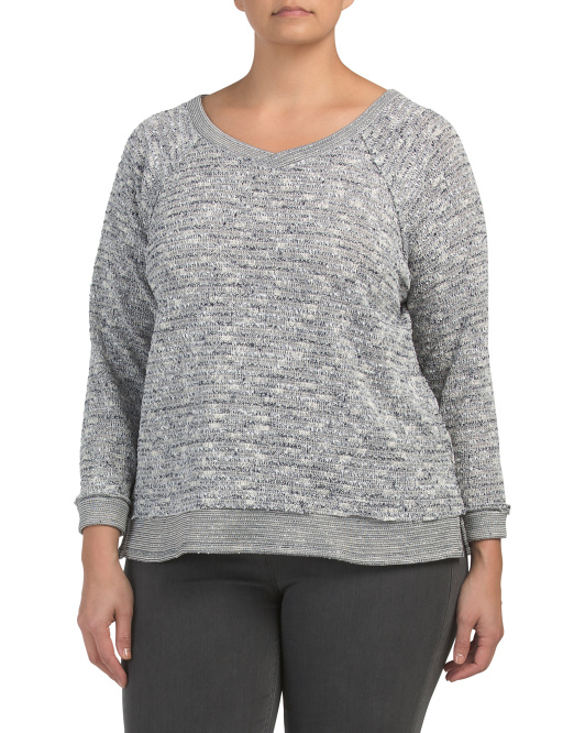 Plus Long Sleeve Nubby Textured Top