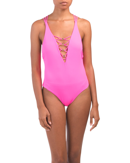 Strappy Plunging One-piece Swimsuit