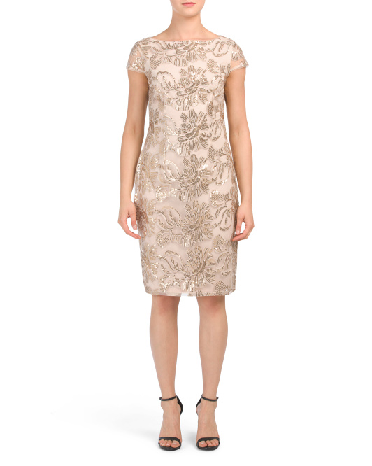 Petite Embroidered Lace Dress