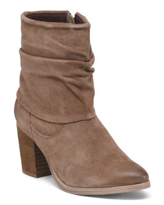 Ruched Foldover Suede Boots