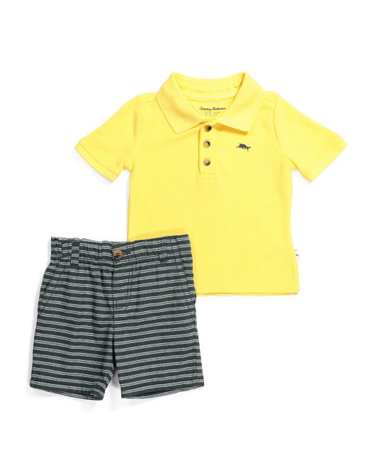 Toddler Boys 2pc Polo Striped Short Set