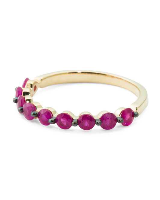 14k Gold And Ruby Stackable Band Ring