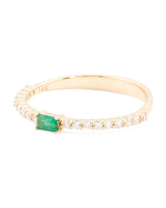 14k Gold Emerald Baguette And Diamond Band Ring