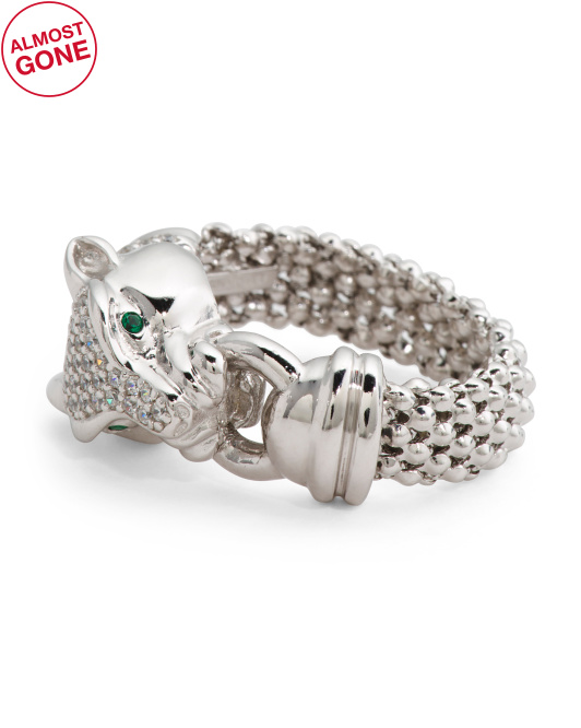 Made In Italy Sterling Silver Cz Panther Ring