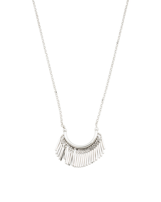 Made In Italy Sterling Silver Spiky Fringe Fan Necklace