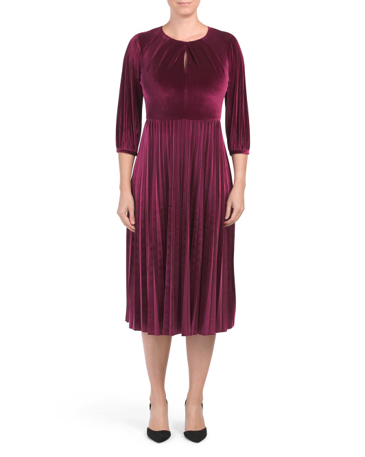 Petite Velvet Pleated Dress