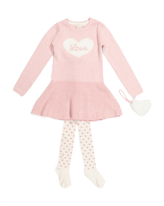 Little Girls Sweater Dress With Tights & Purse