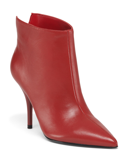 c8aac554891 Leather Pointed Toe Booties