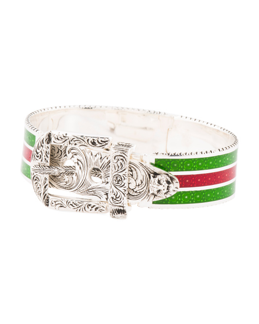 Made In Italy Sterling Silver Enamel Engraved Buckle Bracelet