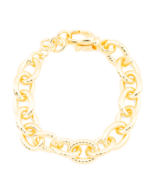 Made In Italy 14k Gold Electroform Rolo Bracelet