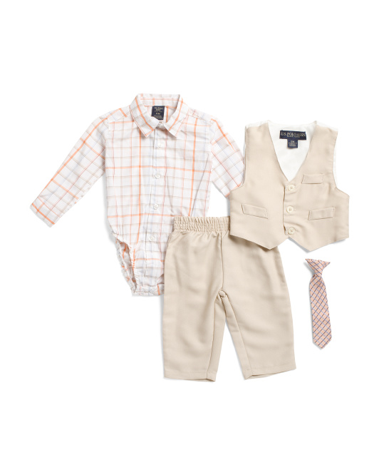 Infant Boys 4pc Vest And Pant Set