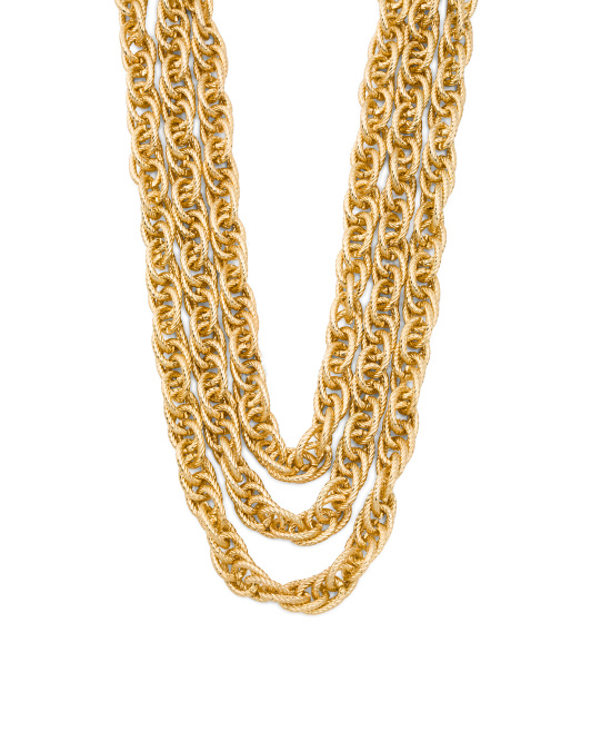 Gold Tone 3 Row Textured Link Necklace