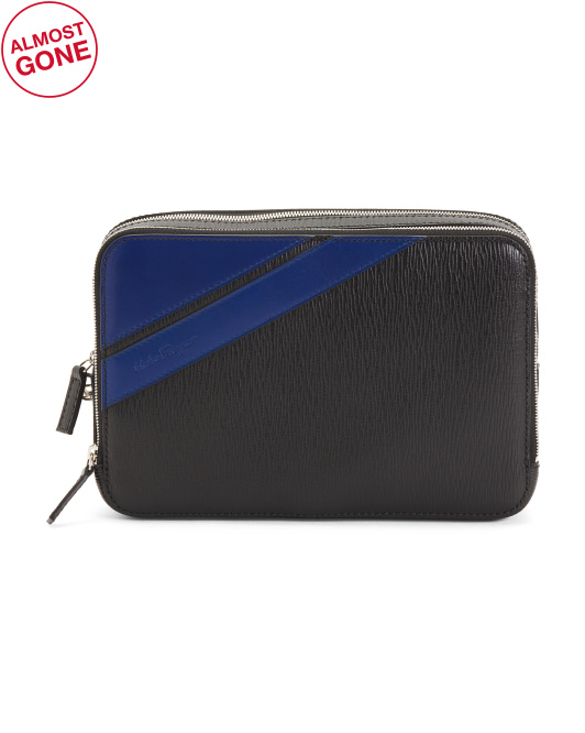 Made In Italy Contrast Stripe Leather Bag