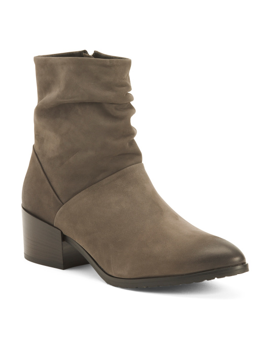 Made In Italy Leather Scrunch Booties