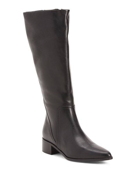 Made In Italy Pointy Toe Knee High Boots