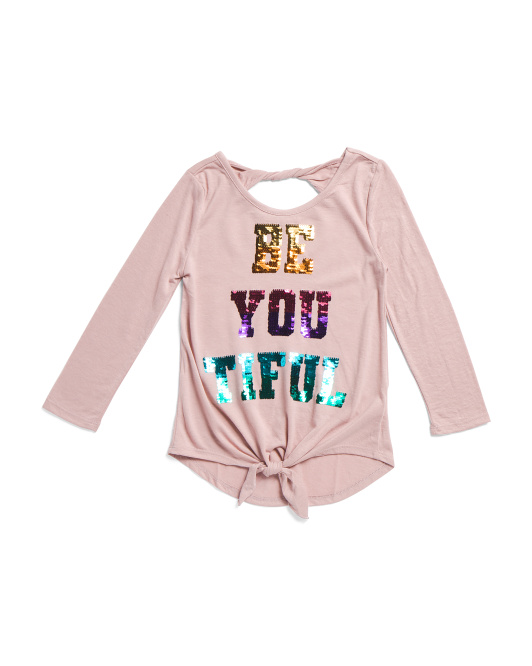 Big Girls Flippy Sequin Be-you-tiful Tie Front Top