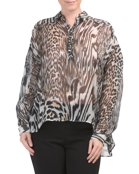 Made In Italy Silk Animal Print Blouse