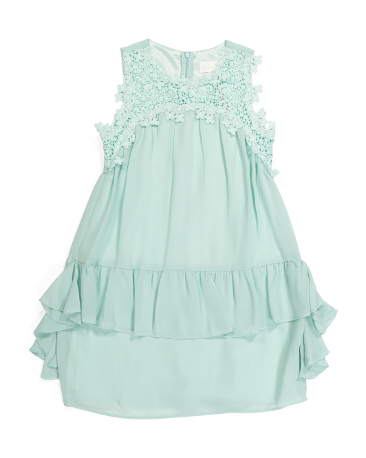 Big Girls Embroidered Ruffle Dress