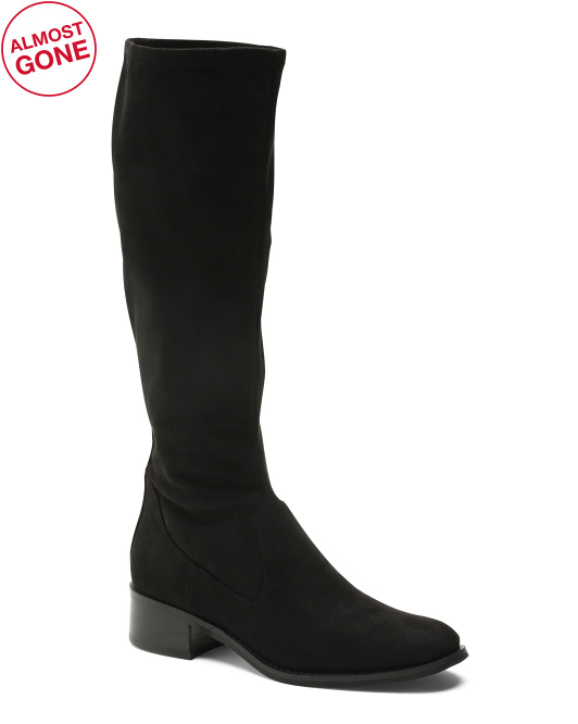 Stretch Suede Knee High Boots