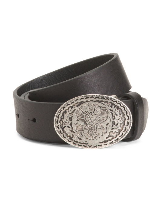 Made In Italy Western Leather Belt With Oval Buckle