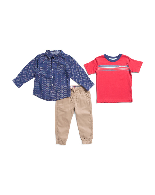 Toddler Boys 3pc Woven And Jogger Set
