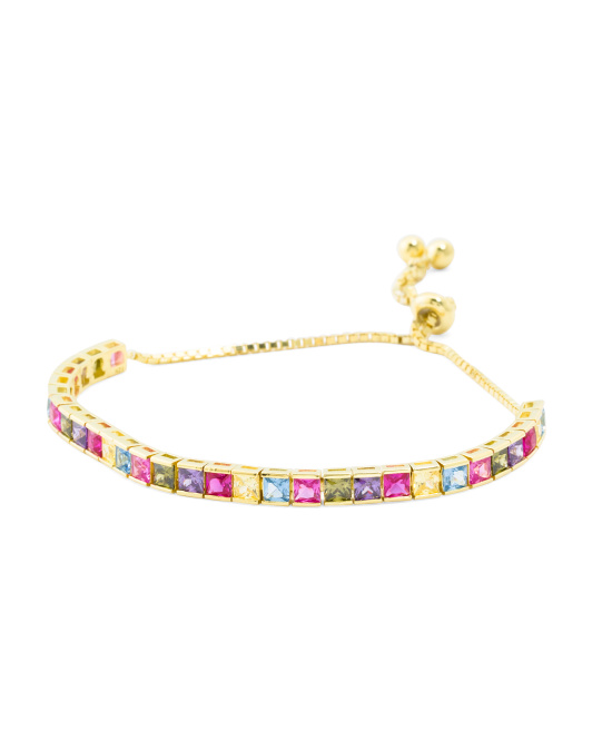 Sterling Silver Rainbow Cz Friendship Bracelet