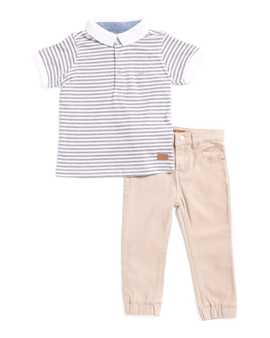 Toddler Boys 2pc Twill Jogger Pant Set
